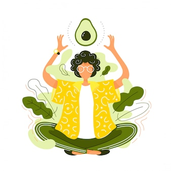 Jonge vrouw in lotus yoga pose mediteren met avocado. moderne trendy vlakke stijl cartoon karakter illustratie. gezond eten concept