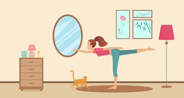 Jonge vrouw in ochtend thuis yoga sport training activiteit actief meisje lichaam uitrekken