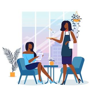 Jonge vrouw in restaurant illustratie