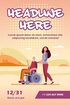 Jonge vrouw in rolstoel met senior man flyer-sjabloon