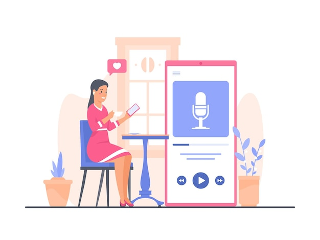 Jonge vrouw in roze jurk zit aan cafétafel koffie te drinken en te luisteren naar podcast met smartphone