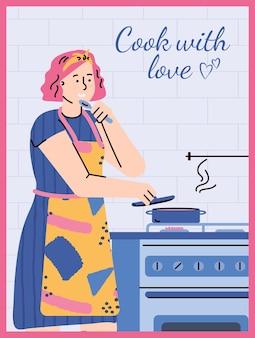Jonge vrouw in schort koken in de keuken. het vrouwelijke karakter bereidt voedsel voor. culinaire hobby op uw gemak, koken met liefde concept. vectorillustratie, kleurrijke banner.