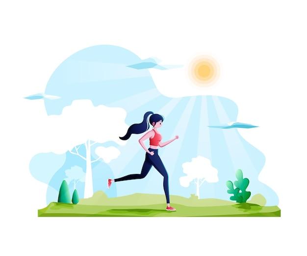 Jonge vrouw in sportkleding die in het openbare parkactive gezonde levensstijlconcept loopt