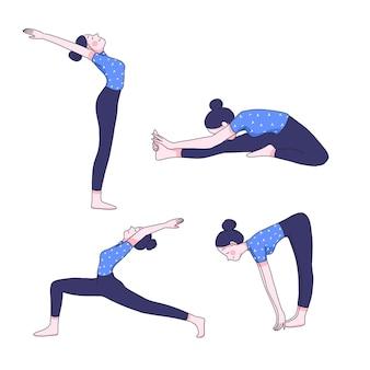 Jonge vrouw in yoga-posities collectie