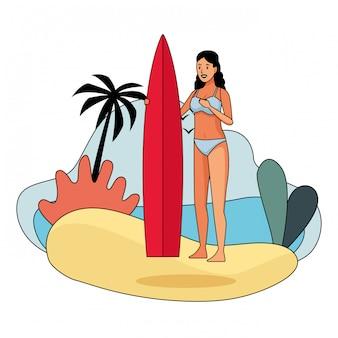 Jonge vrouw in zwempakbeeldverhaal
