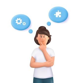 Jonge vrouw jane denkt, zoekt idee, probeert een oplossing te vinden. brainstormconcept. 3d-vector mensen karakter illustratie.
