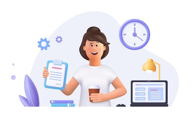 Jonge vrouw jane - freelance werknemer die thuis met laptop werkt. dagelijkse werkroutine. 3d-vector mensen karakter illustratie.