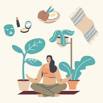 Jonge vrouw karakter ochtendmeditatie in lotushouding thuis.