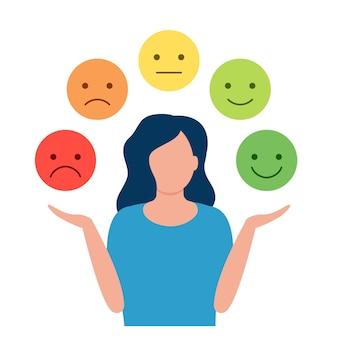 Jonge vrouw keuze verschillende emoties meisje spelen rolverandering emotie controle reactie