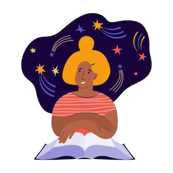 Jonge vrouw leest een groot papieren boek en fantaseert over de kosmos. creatieve verbeelding en denken. boekliefhebber, lezer, moderne literatuurfan. platte cartoon vectorillustratie