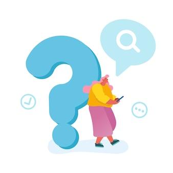 Jonge vrouw leunend op enorme vraagteken zoeken naar informatie op internet met behulp van smartphone geïsoleerd op een witte achtergrond.