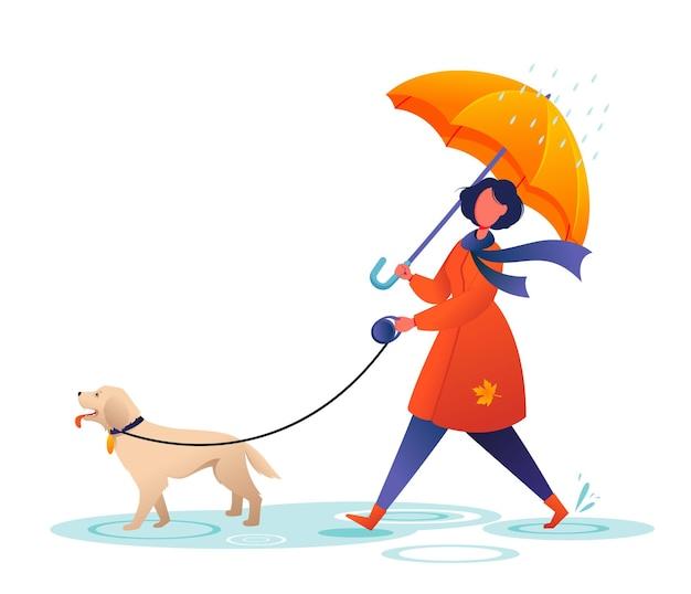 Jonge vrouw loopt de hond onder paraplu herfst regenachtig weer schattig stripfiguur cartoon