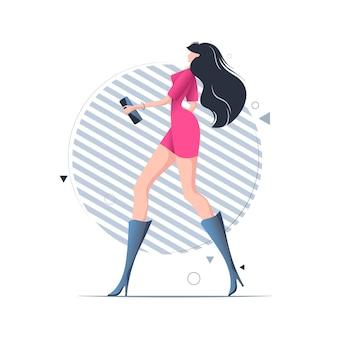 Jonge vrouw lopen in korte jurk en hoge hakken, conceptuele afbeelding.