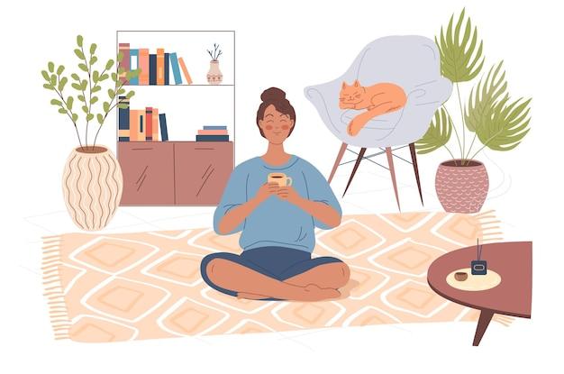 Jonge vrouw mediteren thuis op de vloer cartoon vectorillustratie