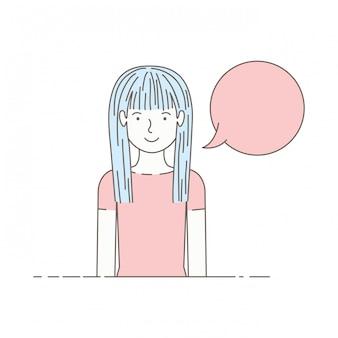 Jonge vrouw met avatar van de toespraakbel karakter