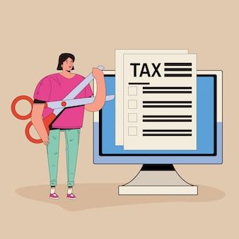 Jonge vrouw met belasting en computer karakter