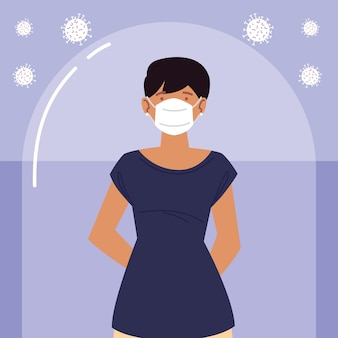 Jonge vrouw met beschermend masker tijdens coronavirus covid 19