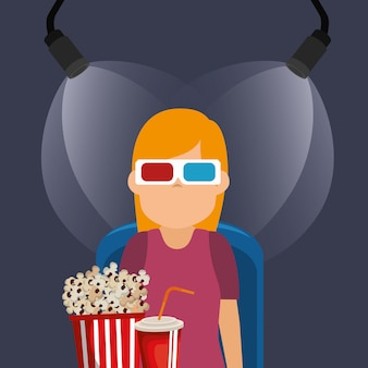 Jonge vrouw met een bril 3d en bioscoop pictogrammen