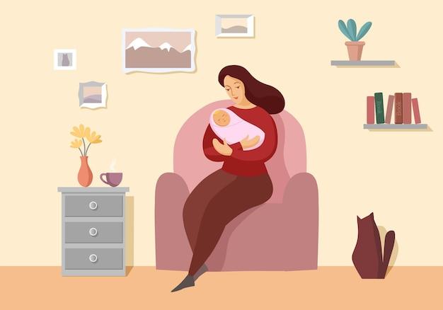 Jonge vrouw met een pasgeboren baby