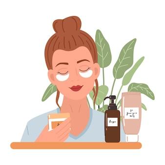 Jonge vrouw met een patches onder de ogen en natuurlijke cosmetica producten in flessen en potten voor huidverzorging. huidverzorging, behandeling, ontspanning, thuisspa. huidverzorgingsroutine. illustratie.