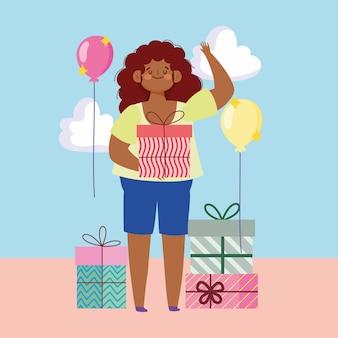 Jonge vrouw met geschenkdoos en vele geschenken baloons decoratie vectorillustratie