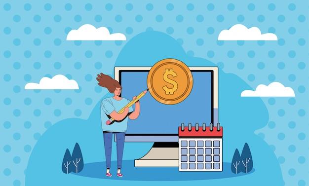 Jonge vrouw met het financiële ontwerp van de bedrijfspictogrammenillustratie