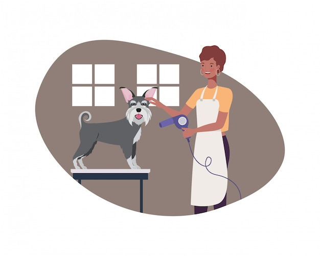 Jonge vrouw met hond in huisdierentrimmer