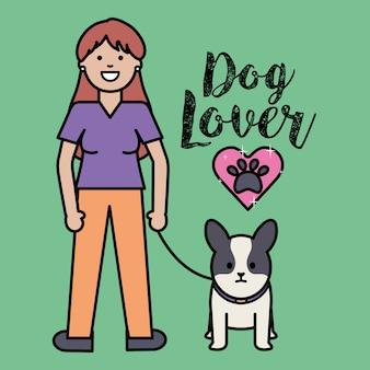 Jonge vrouw met kleine hond schattige mascotte