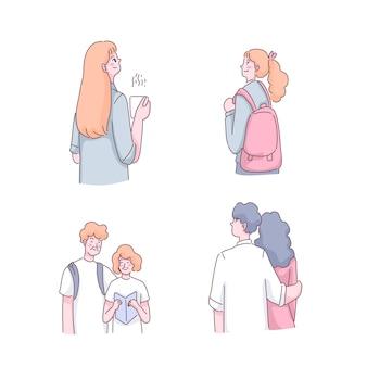Jonge vrouw met koffiekopje, tiener vrouw met schooltas, senior paar leesboek samen en jonge man knuffel mooie vrouw