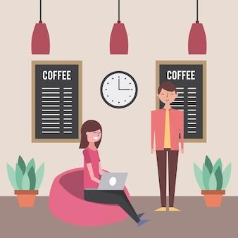 Jonge vrouw met laptop en man in koffie winkel