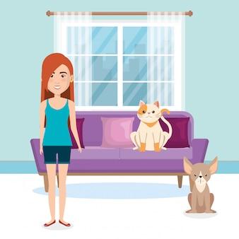 Jonge vrouw met mascotte in het huis