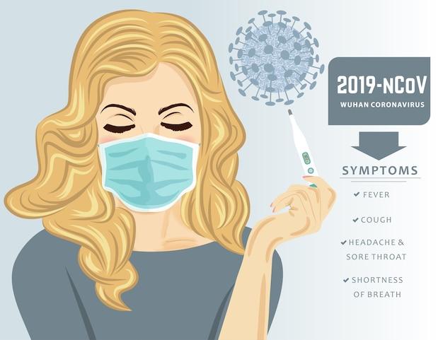 Jonge vrouw met medisch masker en koorts.