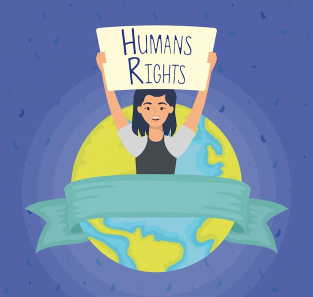 Jonge vrouw met mensenrechten label en aarde planeet vector illustratie ontwerp