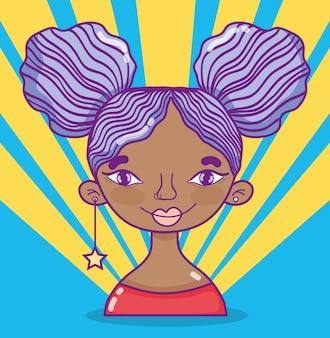 Jonge vrouw met modern kapsel en van de toebehoren vectorillustratie grafisch ontwerp