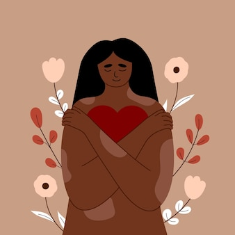 Jonge vrouw met psoriasis huidziekte, meisje met vitiligo knuffelt zichzelf en haar lichaam. hij heeft een hart in zijn handen. hou van jezelf, zelfvertrouwen en zorg. accepteer jezelf, lichaam positief. vector.