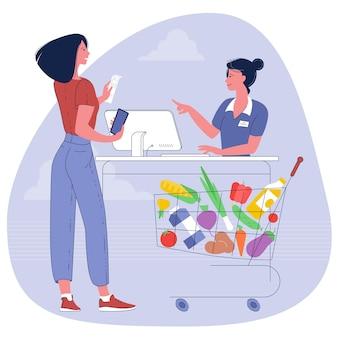 Jonge vrouw met supermarktkar vol boodschappen kar