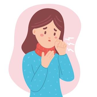 Jonge vrouw met symptomen hoesten