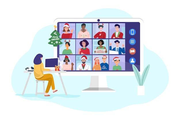 Jonge vrouw met videoconferentie op computer met haar vrienden thuis.