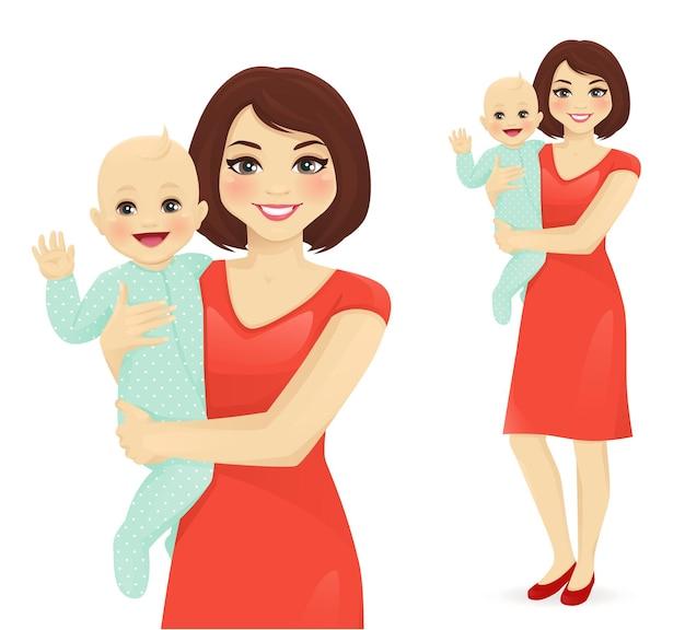 Jonge vrouw moeder met haar pasgeboren baby vector illustratie geïsoleerd