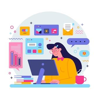 Jonge vrouw multitasking concept
