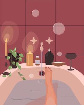 Jonge vrouw neemt een bad en drinkt wijn. thuis ontspannen concept. platte vectorillustratie