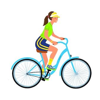 Jonge vrouw op fiets