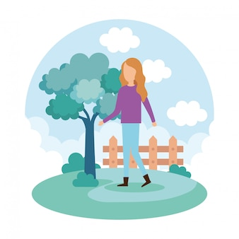 Jonge vrouw op het park