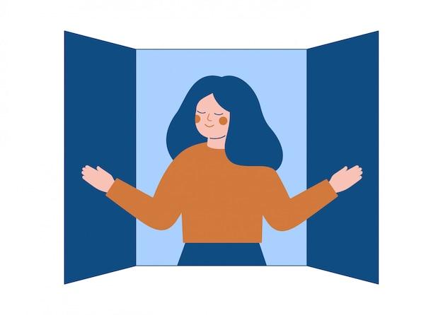 Jonge vrouw opent het raam luiken en ademt de frisse lucht in.