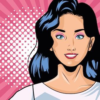 Jonge vrouw pop-art tekenstijl in roze achtergrond vector illustratie ontwerp