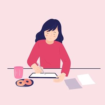 Jonge vrouw puttend uit tabletscherm met stylus. platte vector cartoon illustratie.