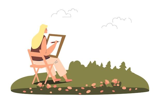Jonge vrouw schilder schets van afbeelding in open lucht illustratie maken