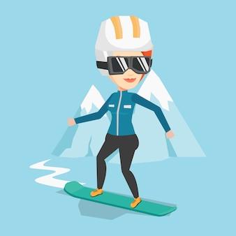 Jonge vrouw snowboarden vectorillustratie.