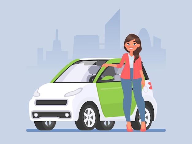 Jonge vrouw staat naast een auto tegen de achtergrond van de stad. in cartoon-stijl