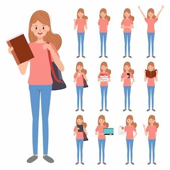 Jonge vrouw student karakter.